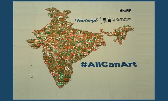 image-Fevicryl-Limca-Book-Of-Records-Attempt with largest India map with tricolors at Seawoods Grand Central Mall Mediabrief