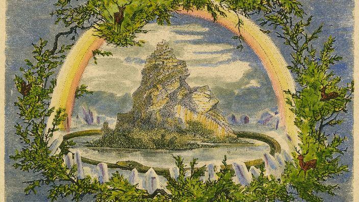 Weltesche Yggdrasil Holzstich um 1880 sptere Kolorierung
